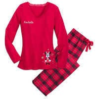 Image of Minnie Mouse Holiday Plaid PJ Set for Women - Personalizable # 1