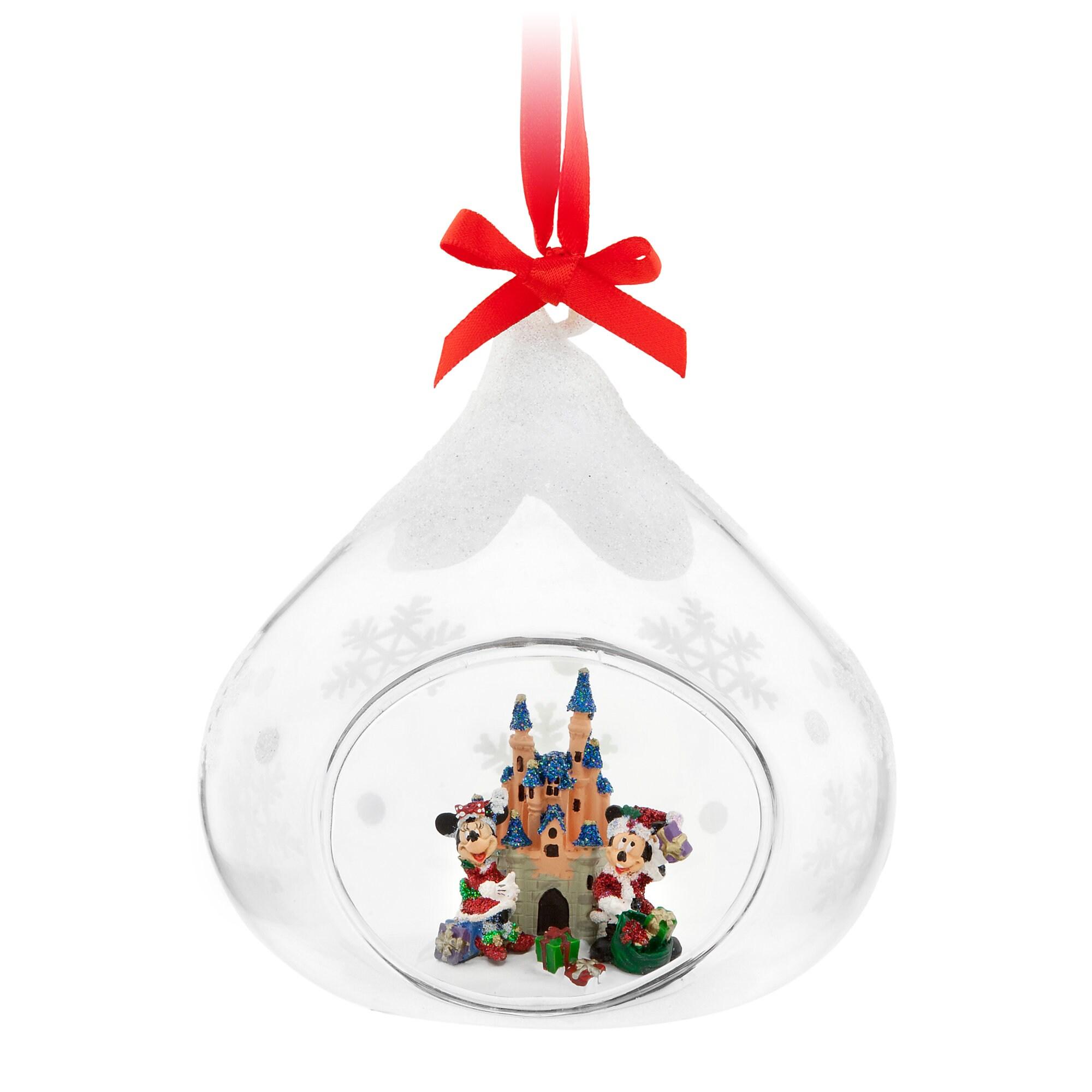 Santa Mickey and Minnie Mouse Glass Ornament - Disneyland