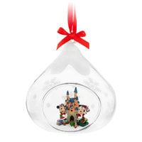 Santa Mickey and Minnie Mouse Glass Ornament - Disneyland