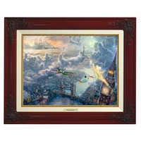 Image of ''Tinker Bell and Peter Pan Fly to Never Land'' Framed Canvas Classic by Thomas Kinkade # 1