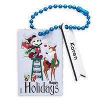 Image of Santa Mickey Mouse and Chip 'n Dale Leather Luggage Tag - Personalizable # 1