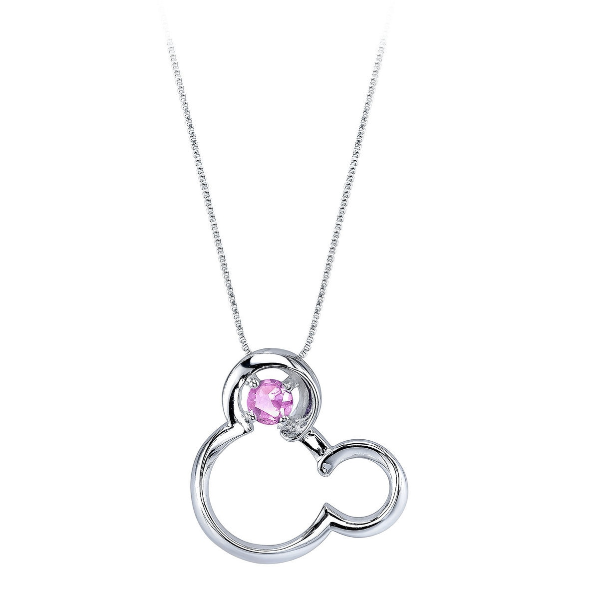 double plated halo sapphire platinum cz accent sterling round pink pendant necklace silver