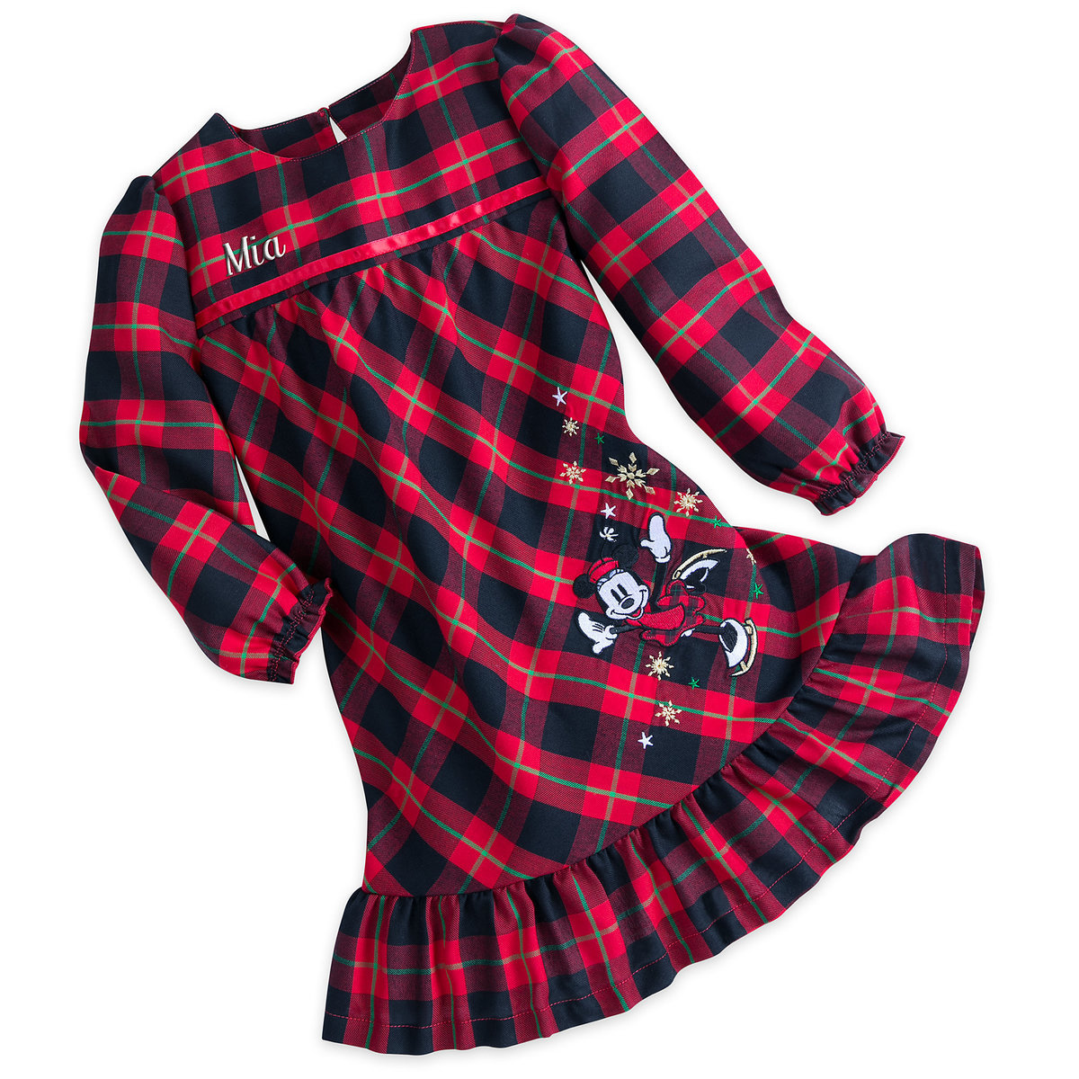 Minnie Mouse Holiday Plaid Nightshirt for Girls - Personalizable