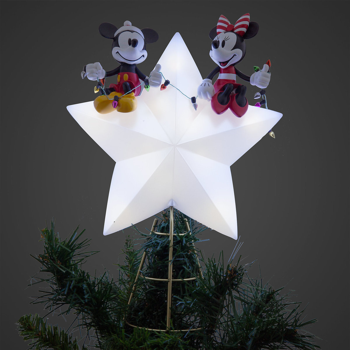 product image of mickey and minnie mouse light up holiday tree topper 2