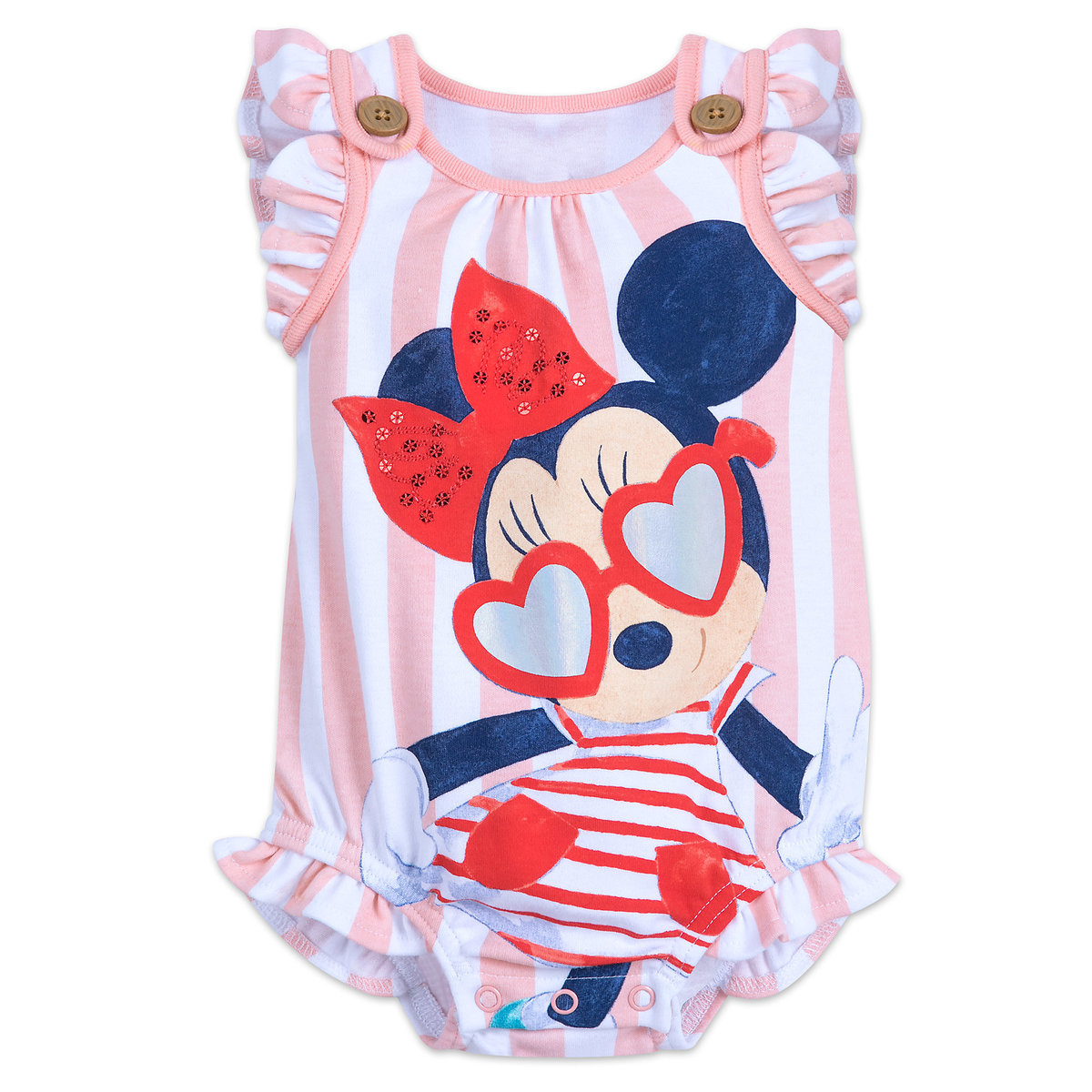 82015b1758 Product Image of Minnie Mouse Striped Bodysuit for Baby # 1
