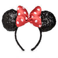 Image of Minnie Mouse Sequined Ear Headband with Satin Bow # 1