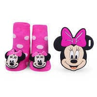 Image of Minnie Mouse Rattle Socks and Teether Gift Set for Baby by Waddle # 1