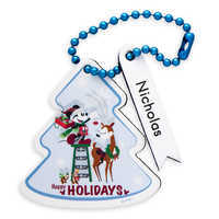 Image of Santa Mickey Mouse and Friends ''Happy Holidays'' Leather Luggage Tag - Personalizable # 1