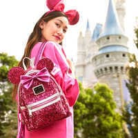 Image of Minnie Mouse Sequin Mini Backpack by Loungefly - Imagination Pink # 2