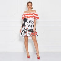 Image of Mickey Mouse and Minnie Mouse Off-the-Shoulder Dress for Women by Sugarbird # 2