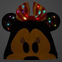 Image of Minnie Mouse Light-Up Knit Holiday Ear Hat for Adults # 3