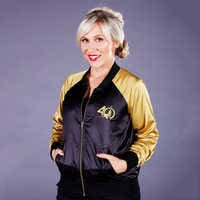 Image of Star Wars 40th Anniversary Satin Varsity Jacket for Women by Her Universe # 4