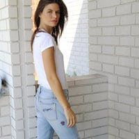 Minnie Mouse Embroidered Boyfriend Jeans by SIWY