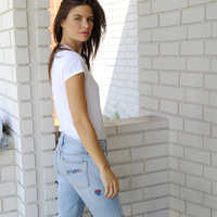 Image of Minnie Mouse Embroidered Boyfriend Jeans by SIWY # 5