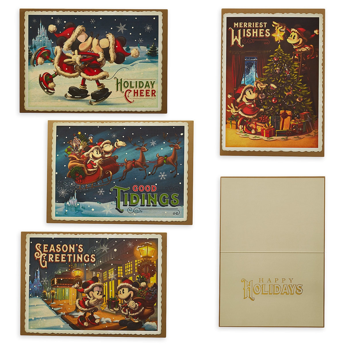Santa Mickey And Minnie Mouse Holiday Cheer Greeting Cards Shopdisney