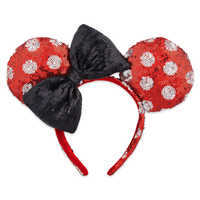 Image of Minnie Mouse Sequined Ears Headband for Adults - Polka Dot # 1