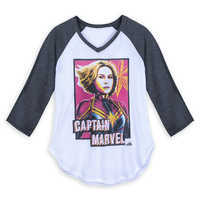 Image of Marvel's Captain Marvel Raglan T-Shirt for Juniors # 1