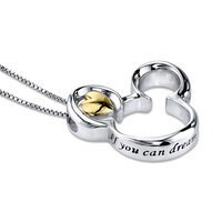 Image of Mickey Mouse Icon Sterling Silver Heart Necklace # 2