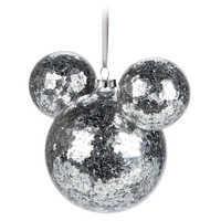 Image of Mickey Mouse Icon Glass Ornament - Silver Confetti # 2