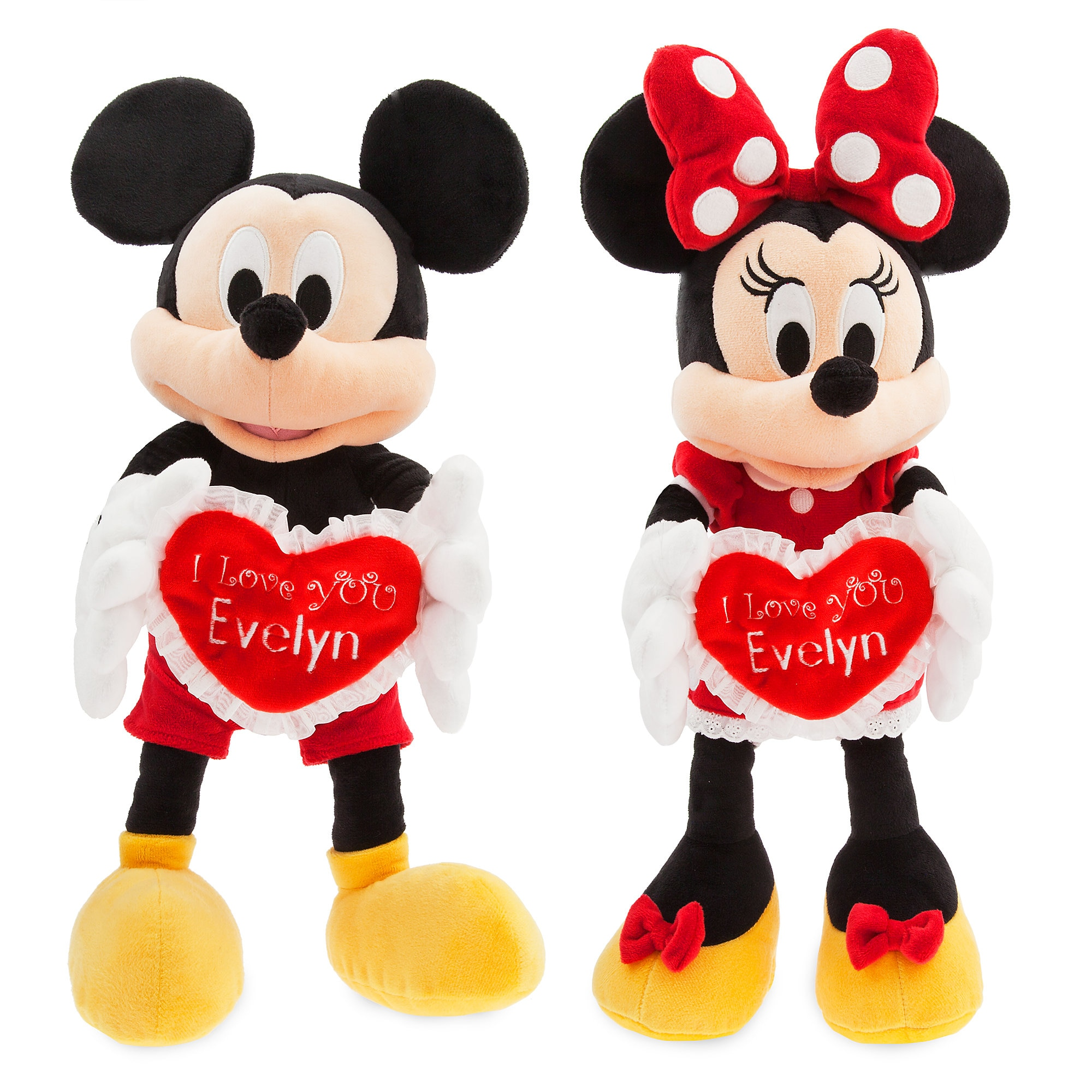 Mickey and Minnie Mouse ''I Love You'' Message Plush Collection