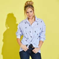 Image of Mickey Mouse Striped Button Shirt for Women # 3