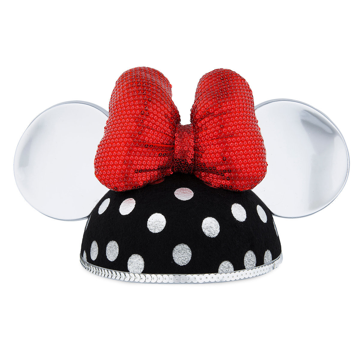 da743b7367e Product Image of Minnie Mouse Ear Hat for Adults - Silver Polka Dot   1