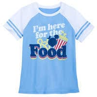 Image of Disney Parks ''I'm here for the Food'' Football T-Shirt for Women # 1
