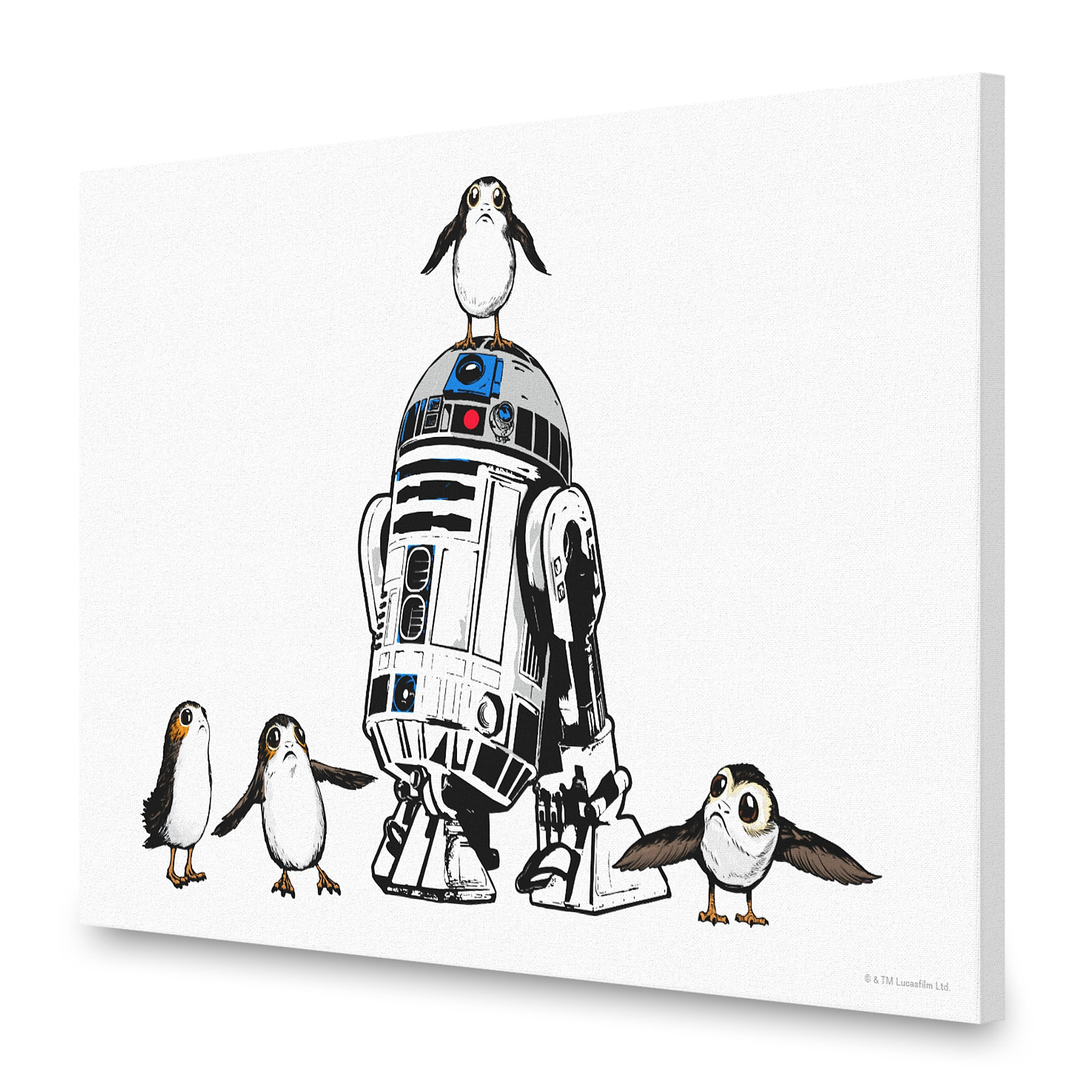 R2-D2 and Porgs Canvas Print - Star Wars: The Last Jedi - Customizable