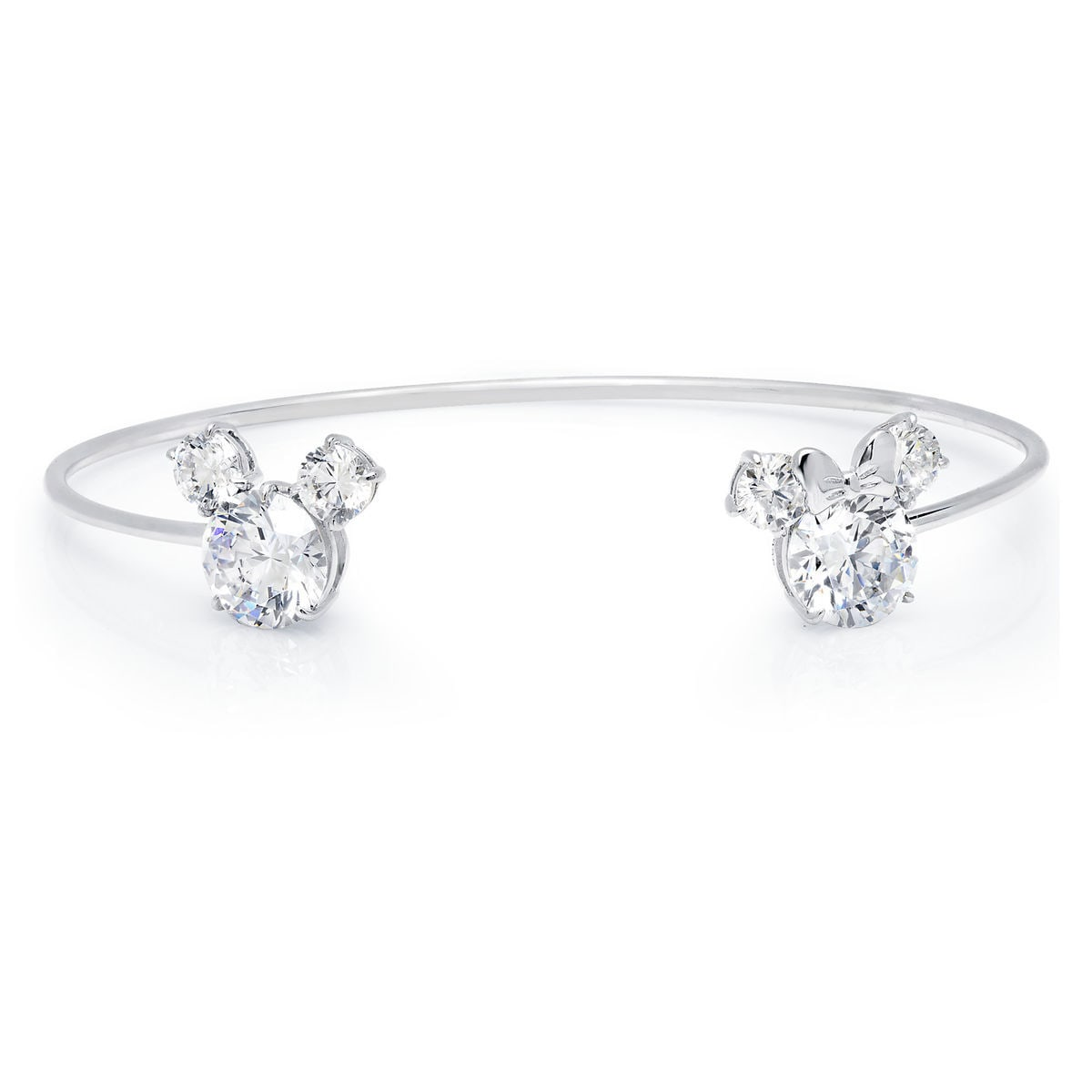 Product Image Of Mickey And Minnie Mouse Cuff Bracelet By Crislu Platinum 1