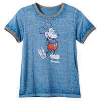 Image of Mickey Mouse Heathered Ringer T-Shirt for Women - Disneyland - Navy # 1