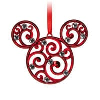Mickey Mouse Icon Filigree Ornament - Red