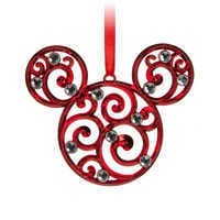 Image of Mickey Mouse Icon Filigree Ornament - Red # 1