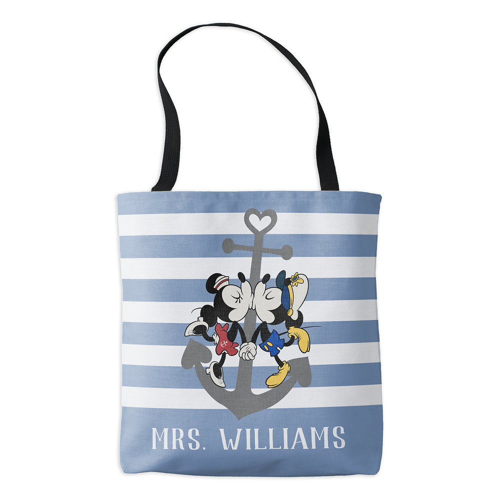 Mickey and Minnie Mouse Blue Tote Bag - Customizable - Disney Cruise Line
