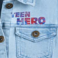 Image of America Chavez Hooded Denim Jacket Top for Girls - Marvel Rising # 4