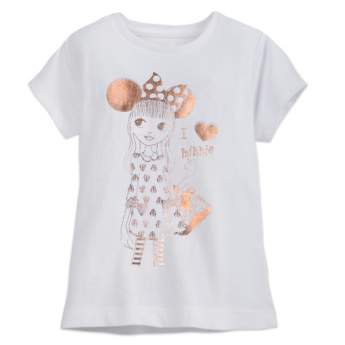 Minnie Mouse Rose Gold Fan T Shirt For Girls Shopdisney