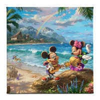 Image of ''Mickey and Minnie in Hawaii'' Gallery Wrapped Canvas by Thomas Kinkade Studios # 1