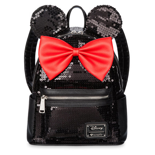 Minnie Mouse Mini Backpack By Loungefly Black Sequined