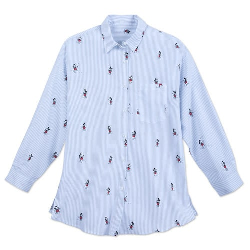 Mickey Mouse Striped Button Shirt for Women
