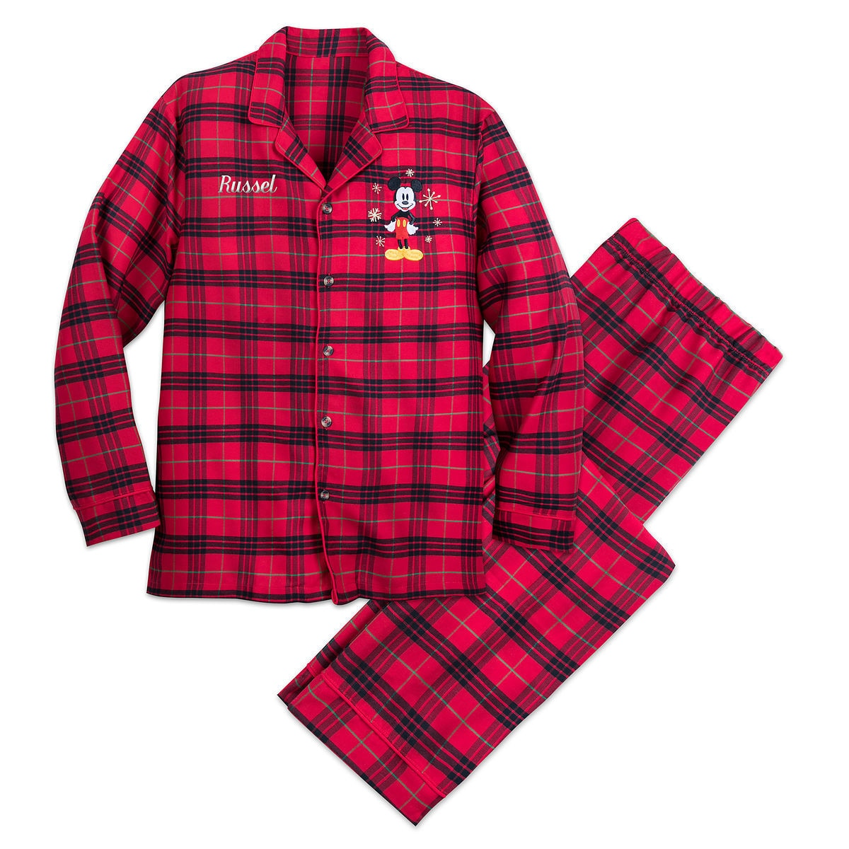 8b61b196f Mickey Mouse Holiday Plaid PJ Set for Men - Personalizable