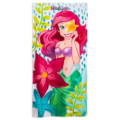 Mermaid Guest Towels: Ariel Beach Towel For Kids - Personalizable
