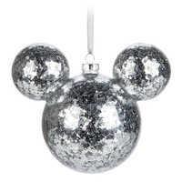 Image of Mickey Mouse Icon Glass Ornament - Silver Confetti # 1