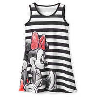 Image of Mickey and Minnie Mouse Striped Dress for Girls - Black # 1
