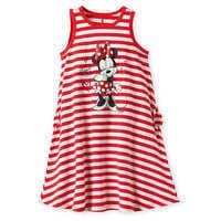 Image of Minnie Mouse Striped Dress for Girls - Red # 1