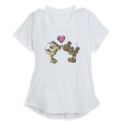 Mickey and Minnie Mouse Sequined Fashion T-Shirt for Women ...