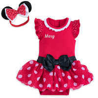 Image of Minnie Mouse Costume Bodysuit for Baby - Red - Personalizable # 1