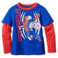 Image of Spider-Man Long Sleeve Layered T-Shirt for Boys # 1