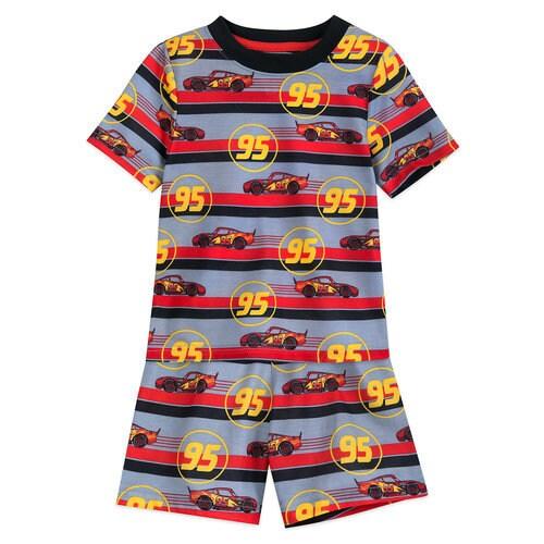 Lightning McQueen Striped Shorts Sleep Set for Boys