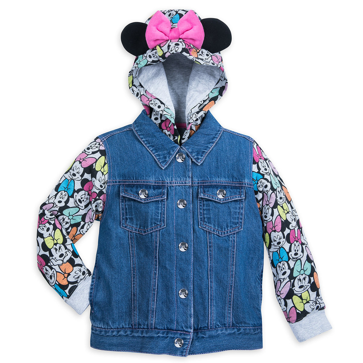 7005fd9b25888 Product Image of Minnie Mouse Denim Hooded Jacket for Girls   1