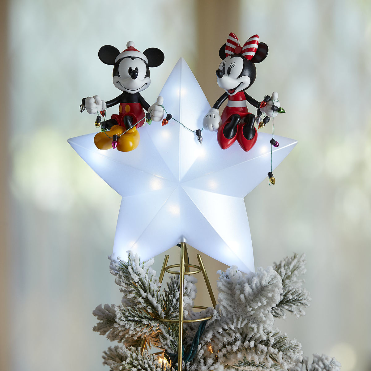 product image of mickey and minnie mouse light up holiday tree topper 5