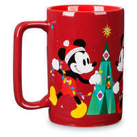 Image of Santa Mickey and Minnie Mouse Holiday Mug # 1
